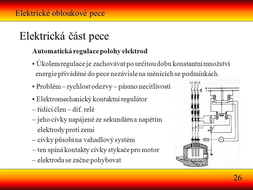 Elektrická část pece Elektrické obloukové pece 26