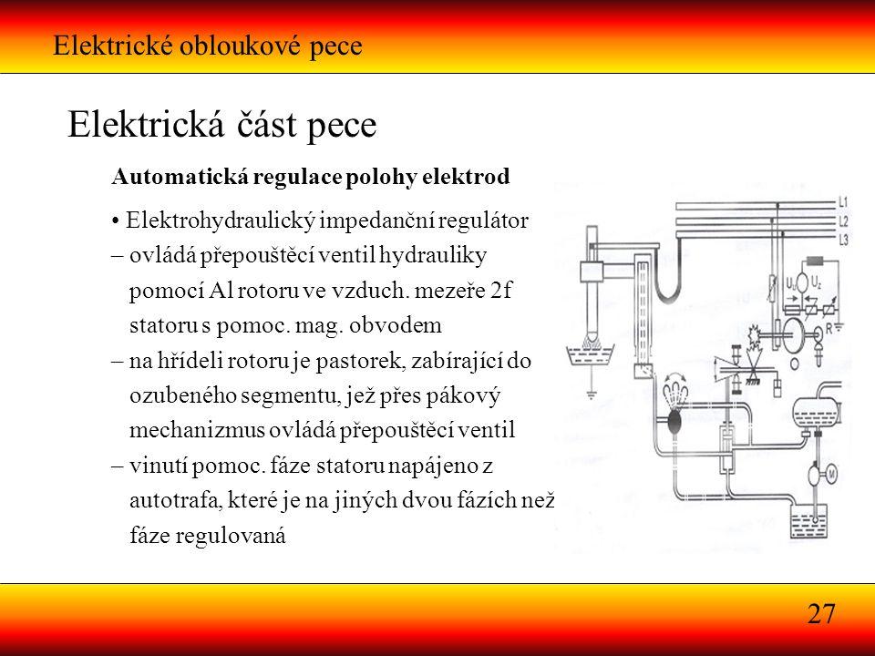 Elektrická část pece Elektrické obloukové pece 27