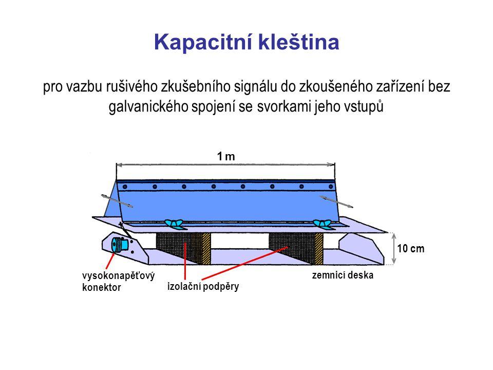 Kapacitní kleština pro vazbu rušivého zkušebního signálu do zkoušeného zařízení bez galvanického spojení se svorkami jeho vstupů.