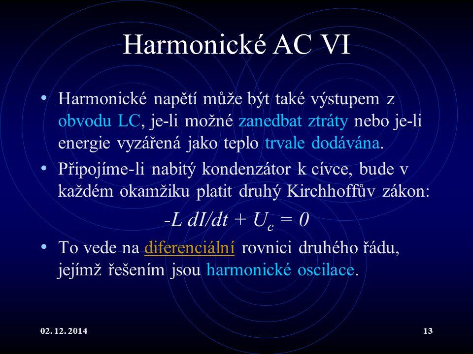 Harmonické AC VI -L dI/dt + Uc = 0