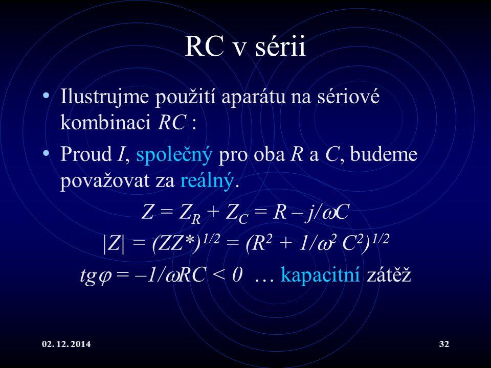 tg = –1/RC < 0 … kapacitní zátěž