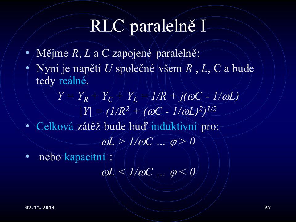 Y = YR + YC + YL = 1/R + j(C - 1/L)