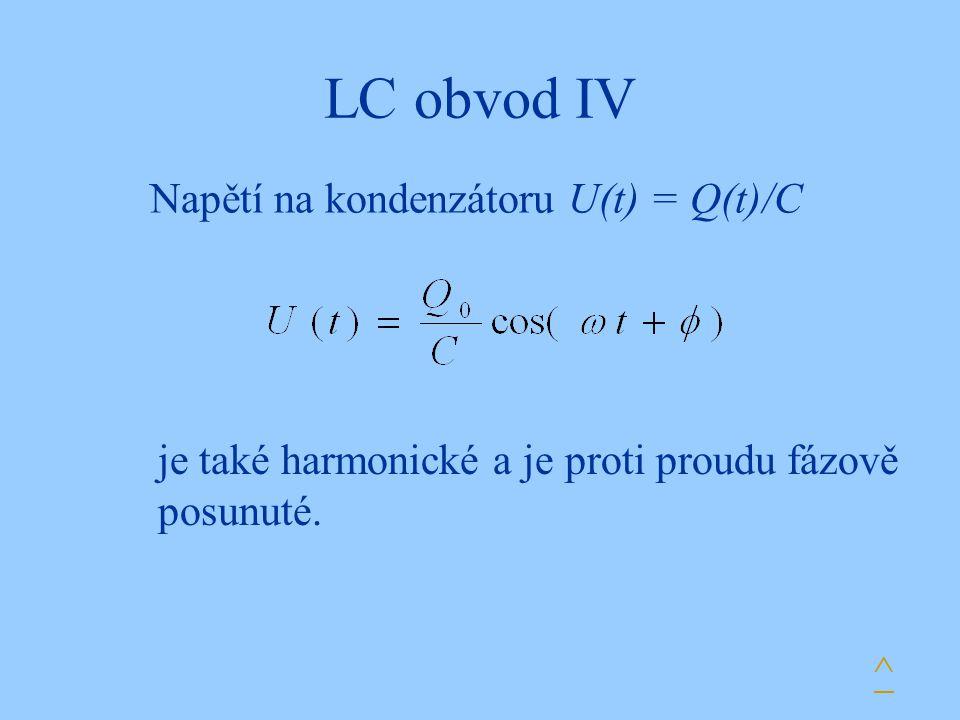 LC obvod IV Napětí na kondenzátoru U(t) = Q(t)/C