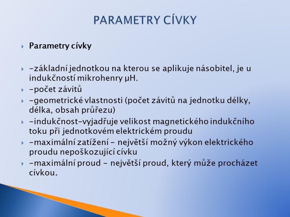 PARAMETRY CÍVKY Parametry cívky