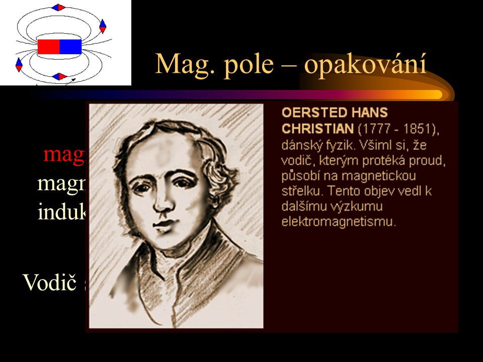 Mag. pole – opakování magnet – póly, netečné pásmo, magnetizace, domény, ferity, mag. pole, indukční čáry,