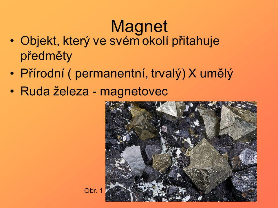Magnet Objekt, který ve svém okolí přitahuje předměty
