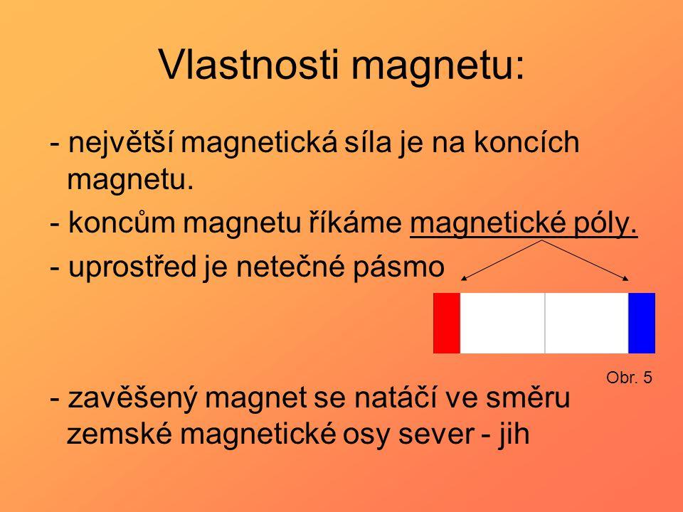 Vlastnosti magnetu: - největší magnetická síla je na koncích magnetu.