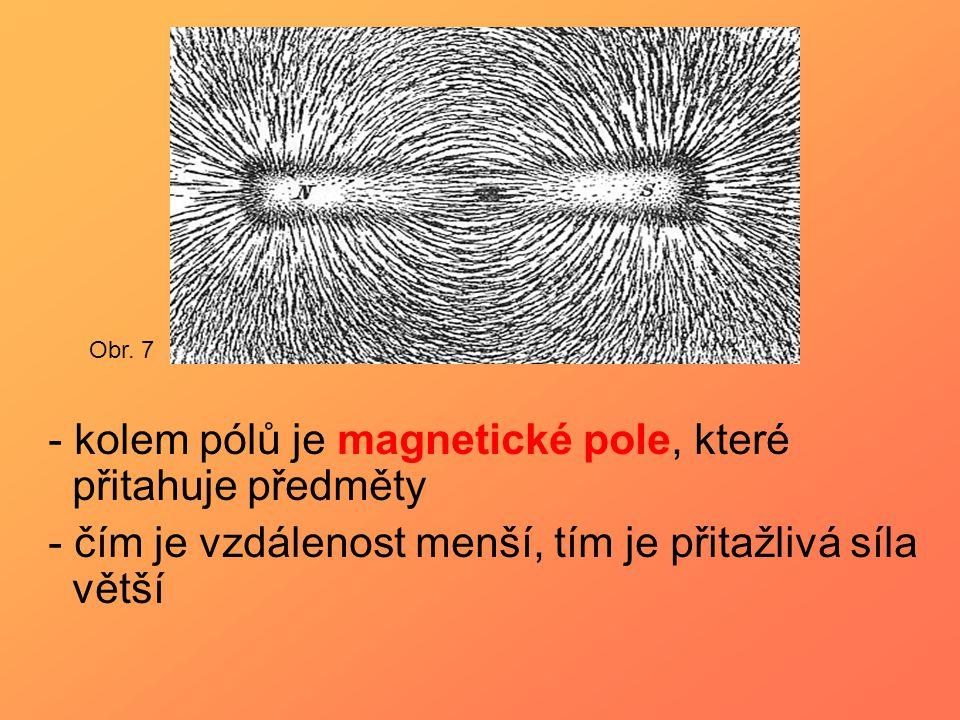 - kolem pólů je magnetické pole, které přitahuje předměty