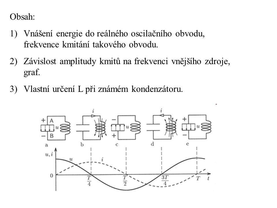 Obsah: Vnášení energie do reálného oscilačního obvodu, frekvence kmitání takového obvodu.