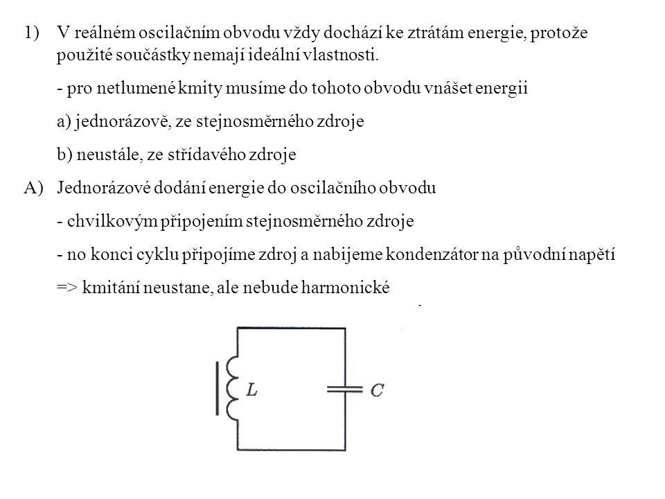 V reálném oscilačním obvodu vždy dochází ke ztrátám energie, protože použité součástky nemají ideální vlastnosti.