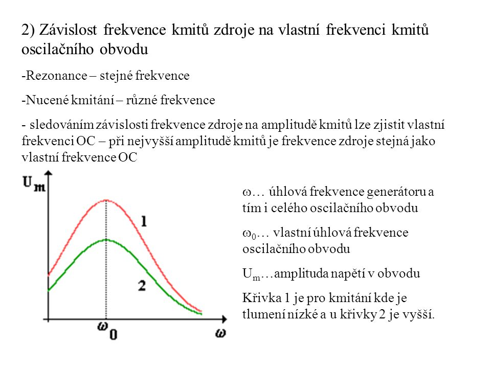 2) Závislost frekvence kmitů zdroje na vlastní frekvenci kmitů oscilačního obvodu