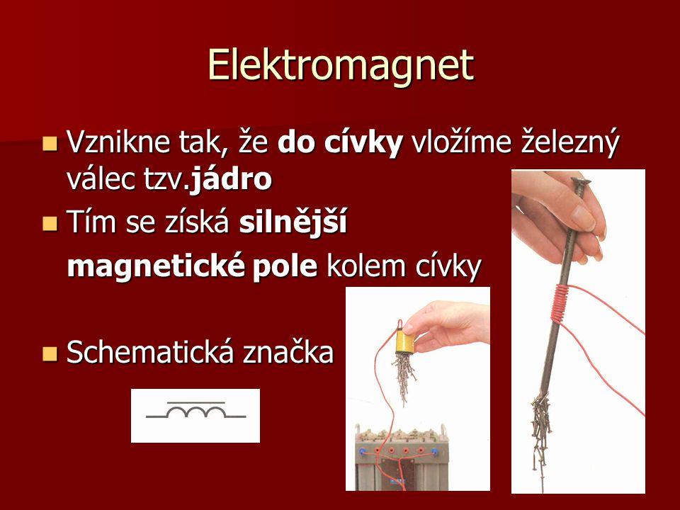 Elektromagnet Vznikne tak, že do cívky vložíme železný válec tzv.jádro