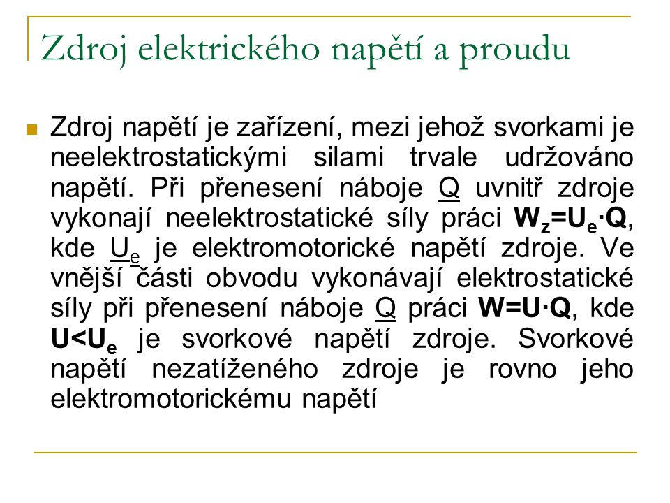 Zdroj elektrického napětí a proudu