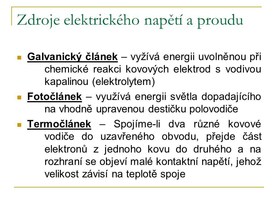 Zdroje elektrického napětí a proudu