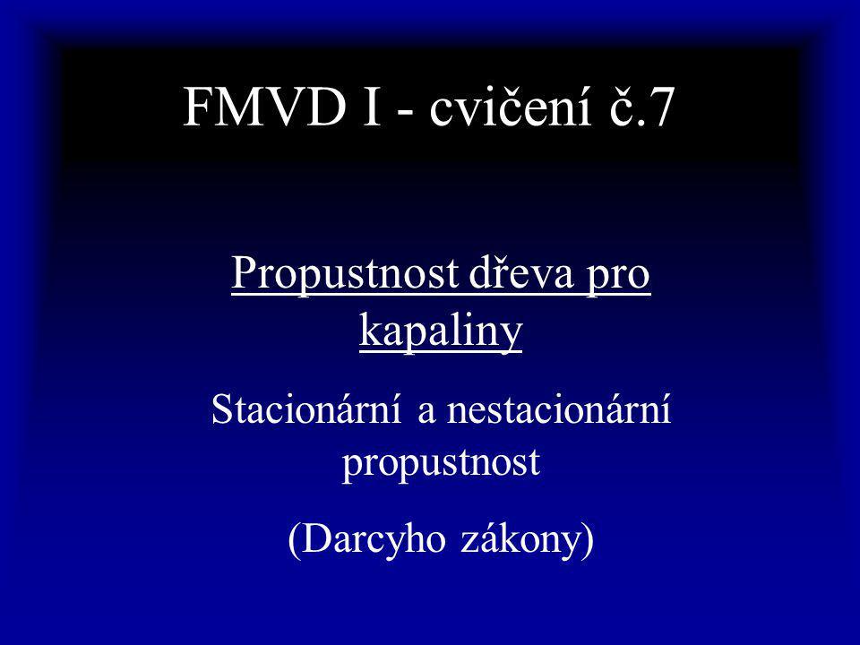 FMVD I - cvičení č.7 Propustnost dřeva pro kapaliny