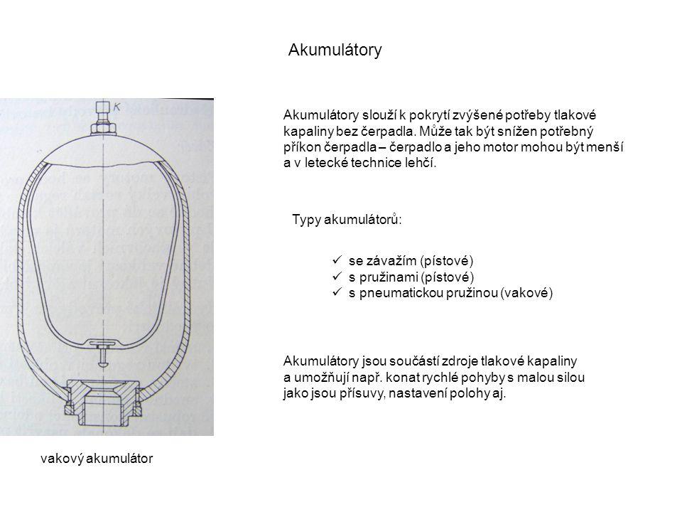 Akumulátory Akumulátory slouží k pokrytí zvýšené potřeby tlakové