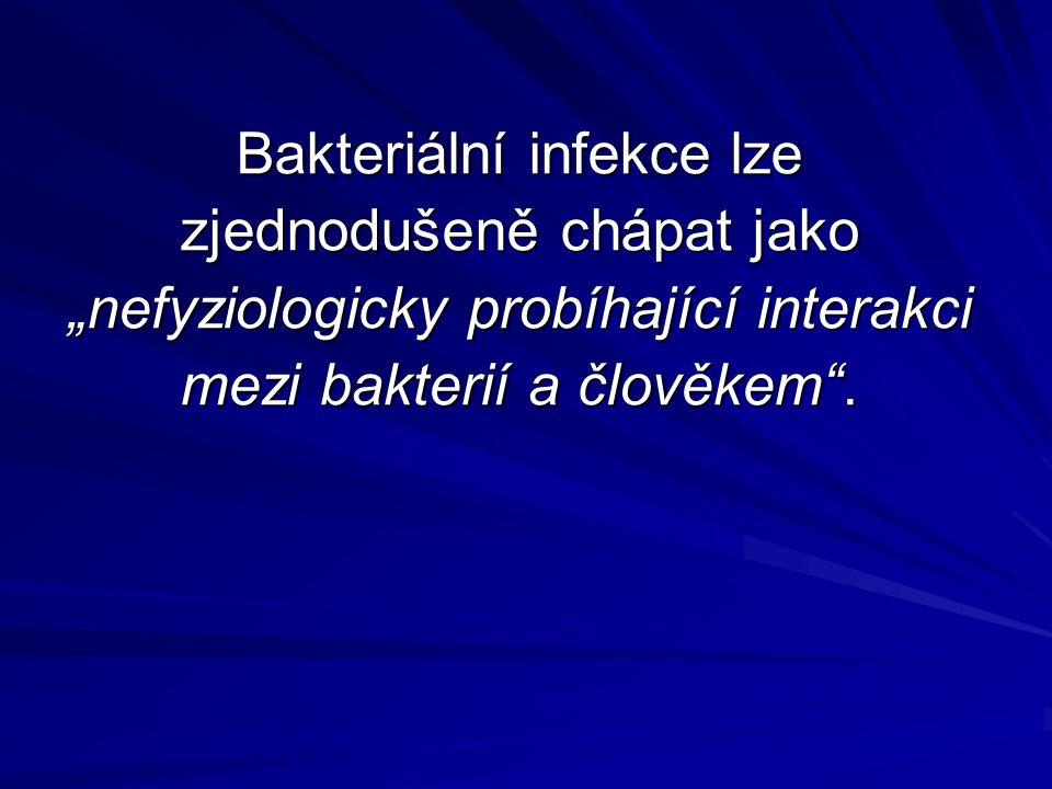 """Bakteriální infekce lze zjednodušeně chápat jako """"nefyziologicky probíhající interakci mezi bakterií a člověkem ."""