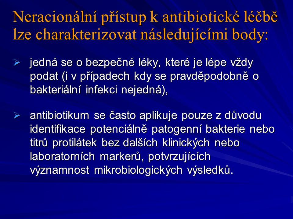 Neracionální přístup k antibiotické léčbě lze charakterizovat následujícími body: