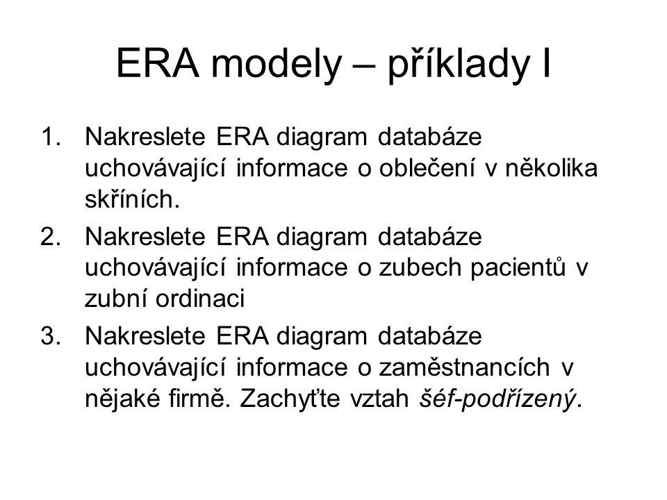 ERA modely – příklady I Nakreslete ERA diagram databáze uchovávající informace o oblečení v několika skříních.
