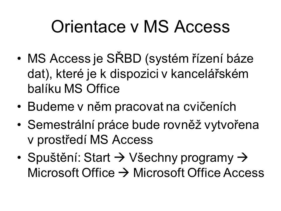 Orientace v MS Access MS Access je SŘBD (systém řízení báze dat), které je k dispozici v kancelářském balíku MS Office.