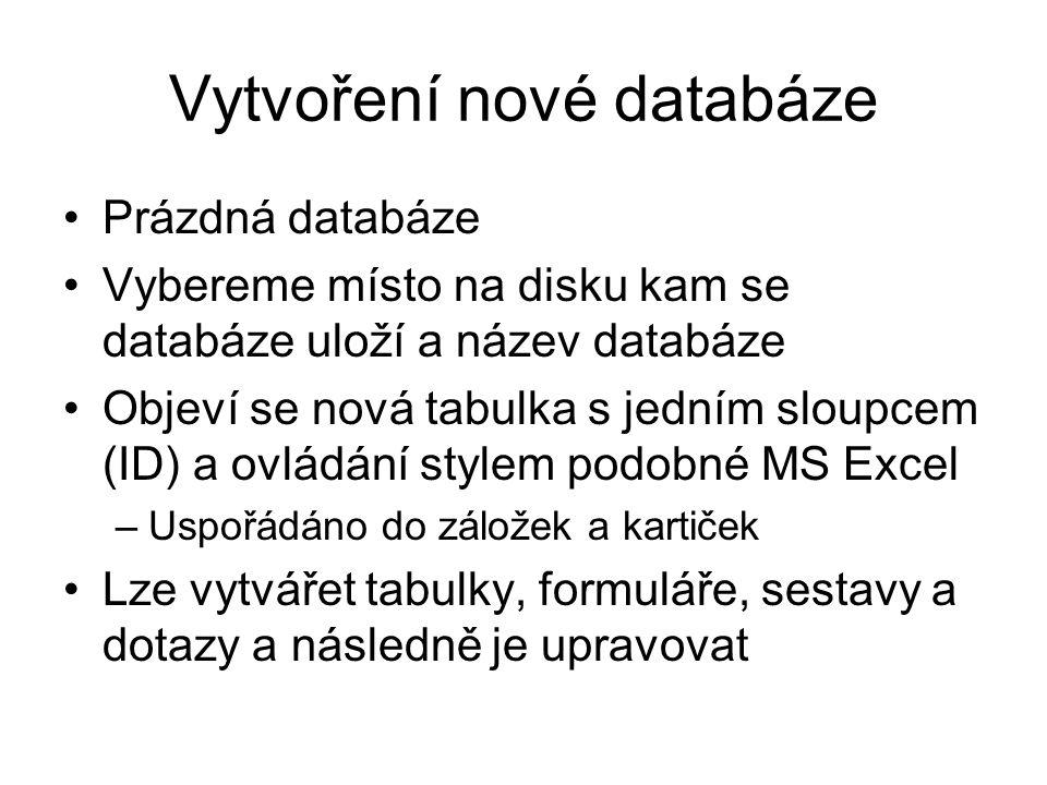 Vytvoření nové databáze