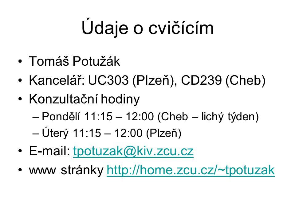 Údaje o cvičícím Tomáš Potužák Kancelář: UC303 (Plzeň), CD239 (Cheb)