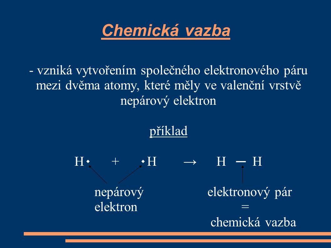Chemická vazba - vzniká vytvořením společného elektronového páru mezi dvěma atomy, které měly ve valenční vrstvě nepárový elektron.