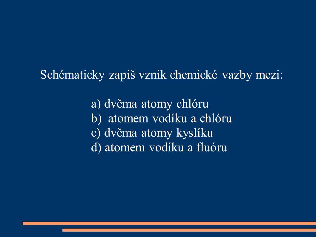 Schématicky zapiš vznik chemické vazby mezi: a) dvěma atomy chlóru