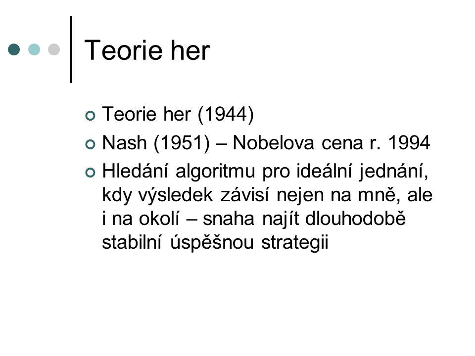 Teorie her Teorie her (1944) Nash (1951) – Nobelova cena r. 1994