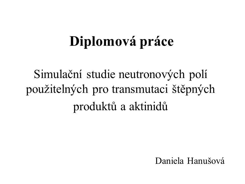 Diplomová práce Simulační studie neutronových polí použitelných pro transmutaci štěpných produktů a aktinidů.