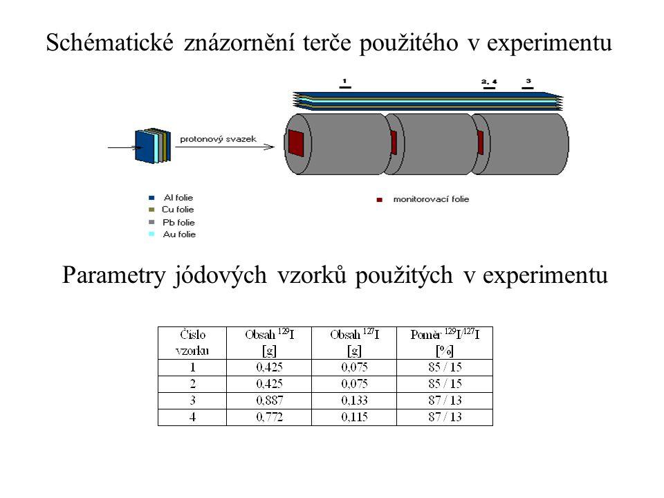Schématické znázornění terče použitého v experimentu