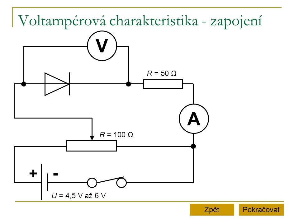Voltampérová charakteristika - zapojení