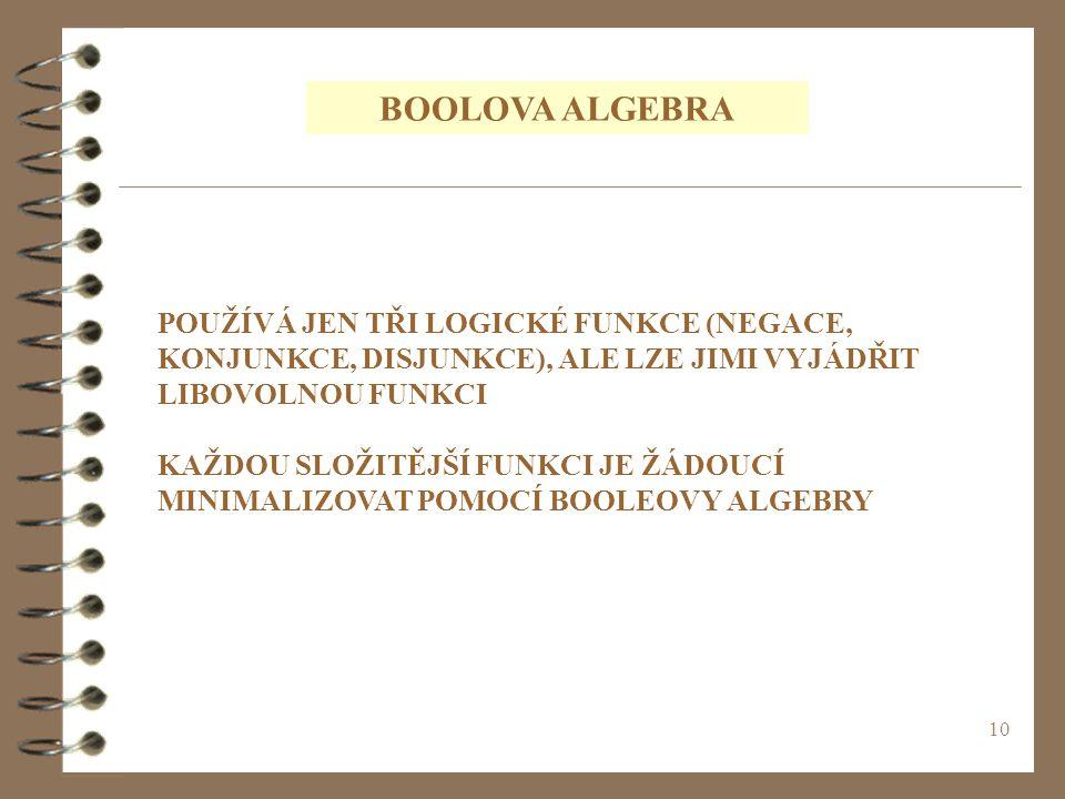 BOOLOVA ALGEBRA POUŽÍVÁ JEN TŘI LOGICKÉ FUNKCE (NEGACE, KONJUNKCE, DISJUNKCE), ALE LZE JIMI VYJÁDŘIT LIBOVOLNOU FUNKCI.