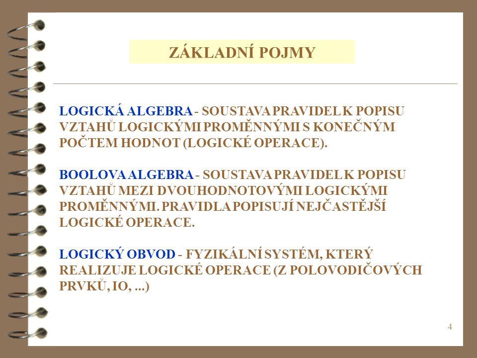 ZÁKLADNÍ POJMY LOGICKÁ ALGEBRA - SOUSTAVA PRAVIDEL K POPISU VZTAHŮ LOGICKÝMI PROMĚNNÝMI S KONEČNÝM POČTEM HODNOT (LOGICKÉ OPERACE).