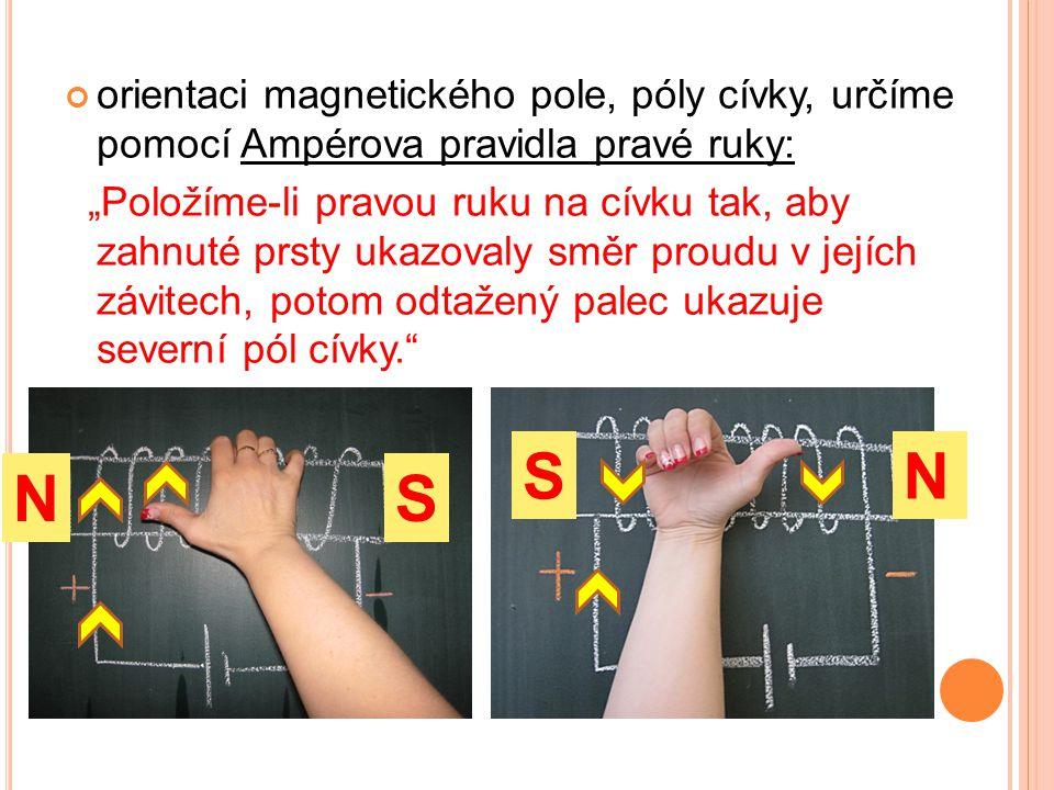 orientaci magnetického pole, póly cívky, určíme pomocí Ampérova pravidla pravé ruky: