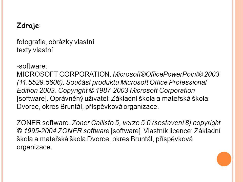 Zdroje: fotografie, obrázky vlastní. texty vlastní. software: