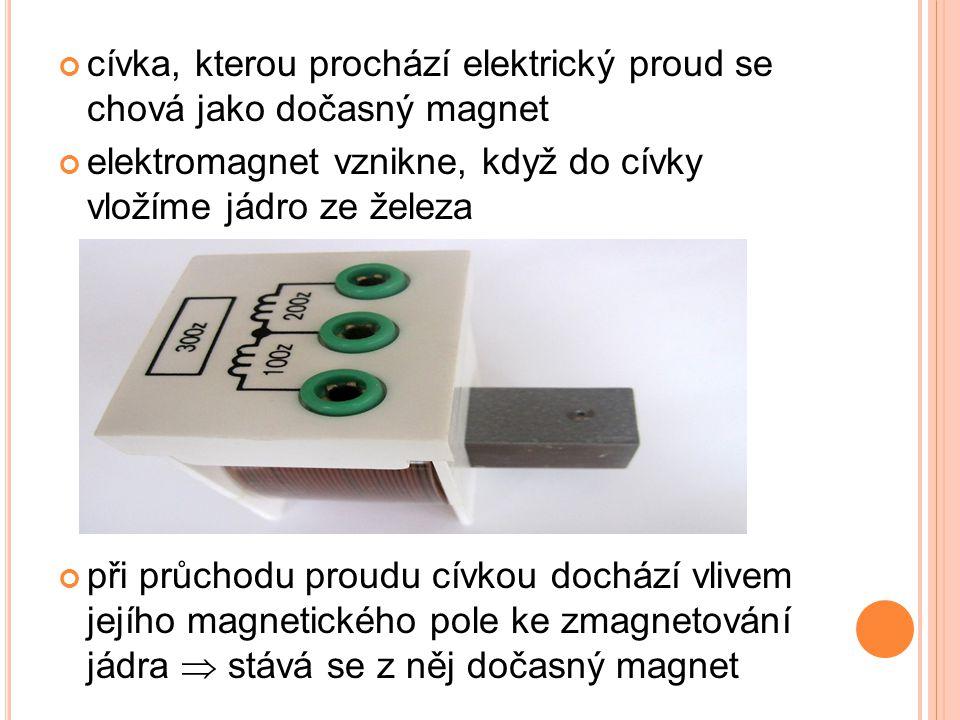cívka, kterou prochází elektrický proud se chová jako dočasný magnet