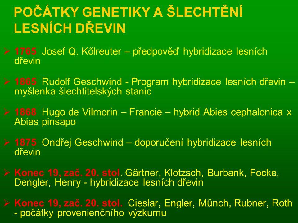 POČÁTKY GENETIKY A ŠLECHTĚNÍ LESNÍCH DŘEVIN