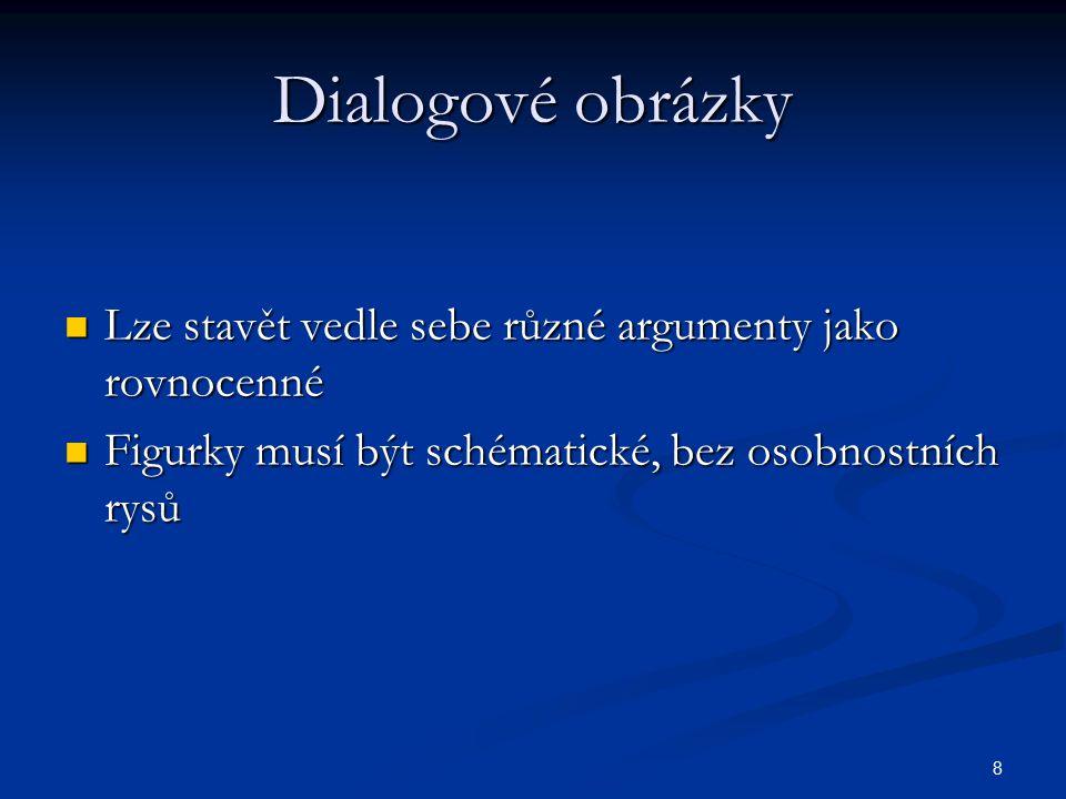 Dialogové obrázky Lze stavět vedle sebe různé argumenty jako rovnocenné.