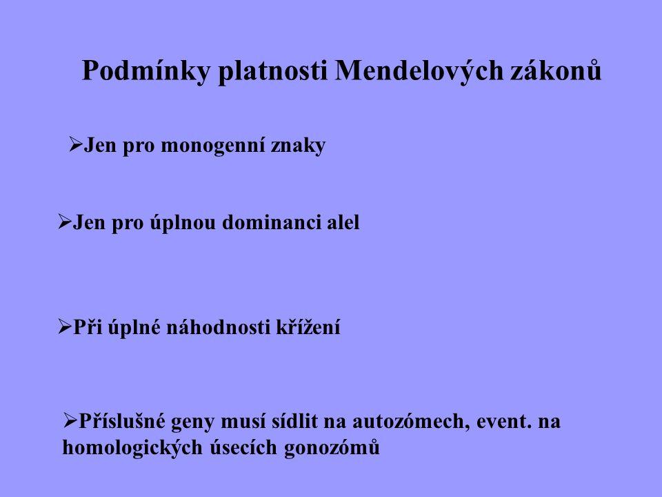 Podmínky platnosti Mendelových zákonů