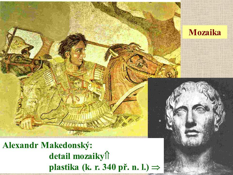 Mozaika Alexandr Makedonský: detail mozaiky plastika (k. r. 340 př. n. l.) 