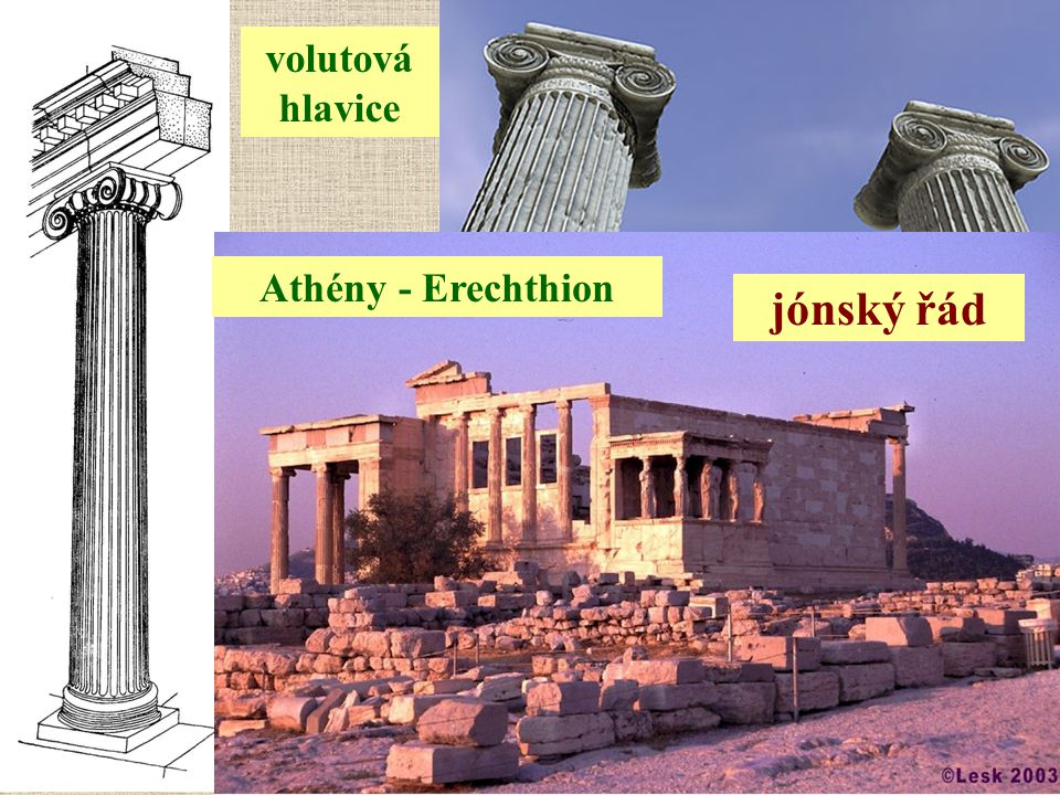 volutová hlavice Athény - Erechthion jónský řád