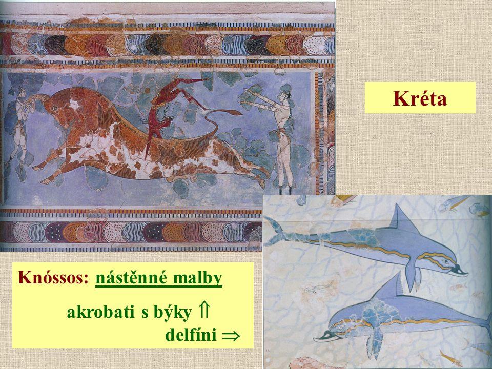 Kréta Knóssos: nástěnné malby akrobati s býky  delfíni 