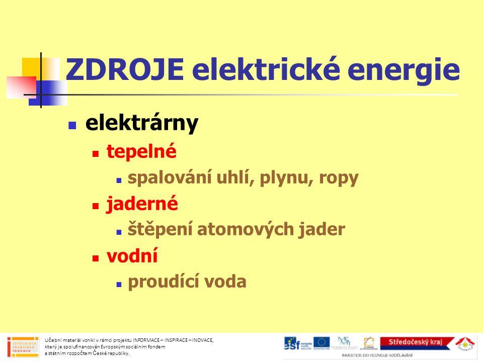 ZDROJE elektrické energie