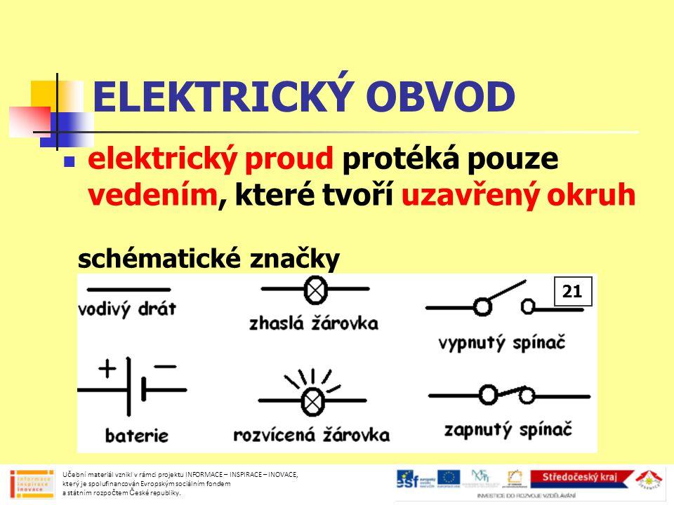 ELEKTRICKÝ OBVOD elektrický proud protéká pouze vedením, které tvoří uzavřený okruh. schématické značky.