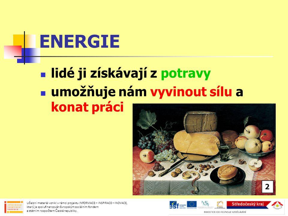 ENERGIE lidé ji získávají z potravy