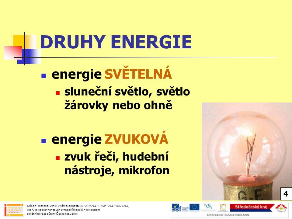 DRUHY ENERGIE energie SVĚTELNÁ energie ZVUKOVÁ