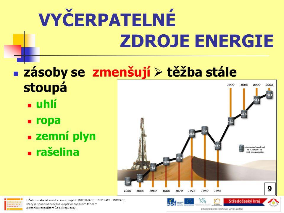 VYČERPATELNÉ ZDROJE ENERGIE