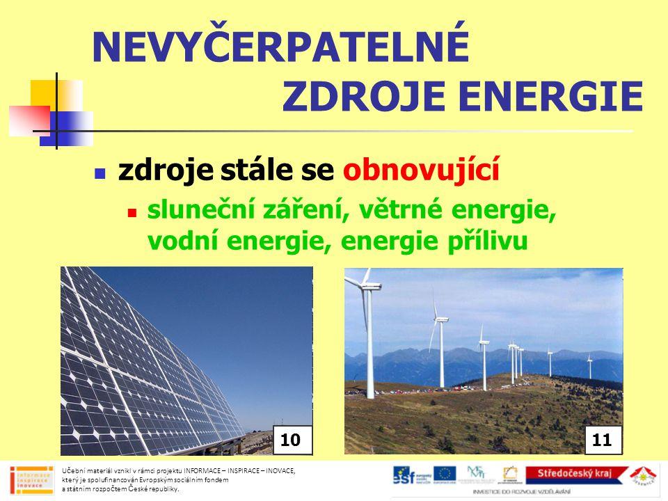 NEVYČERPATELNÉ ZDROJE ENERGIE