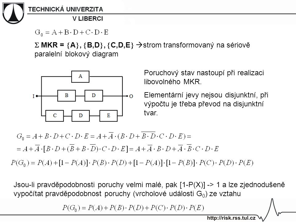  MKR = A, B,D, C,D,E strom transformovaný na sériově paralelní blokový diagram